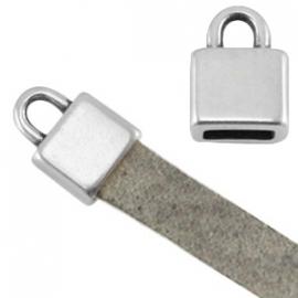 DQ metalen eindkapjes voor 5mm plat (leer) koord (2st.)