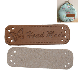 PU Lederen Label Hand Made Rechthoek