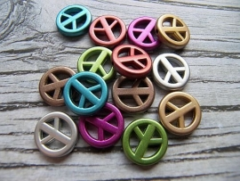 Peace kralen Acryl Metallic Mix (14st)