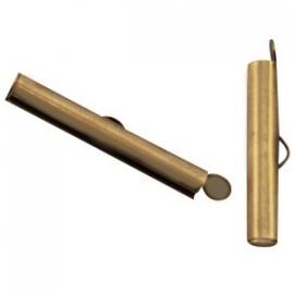 DQ metaal schuif eindkap 25.5 x 6 mm Antiek Brons (set 2 st.)