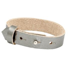 Cuoio Armband Leer 15mm Metallic Silver