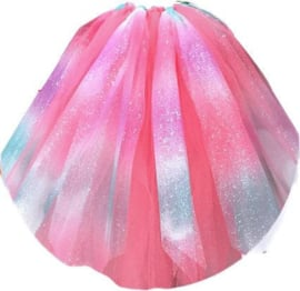 Tule GLITTER Rainbow Pink Purple Blue 15cm breed 9 meter