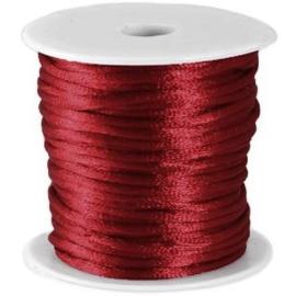 Voordeelverpakking rol van 10 meter Satijnkoord Bordeaux Rood 2mm