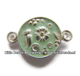 Connector Dolce Luna Emaille Bloem en Blaadjes Turquoise Groen