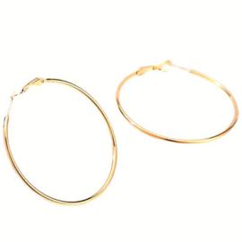 Oorbel Hoops RVS Gold Plated 6cm (1 paar)