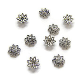 Kralenkapjes Flower Antique Silver (10st.)