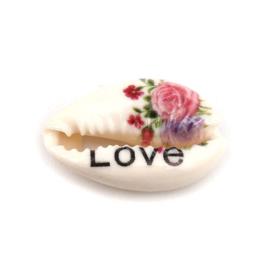 Bedrukte Cauri Schelpen Rozen Love (10st.)