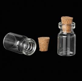 Glazen flesje met kurkje 28x14mm