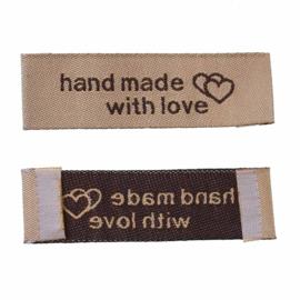 Textiel Label Hand Made With Love  Beige