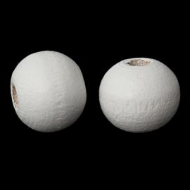 Houten ronde kraal Wit 6mm (ca 100 stuks)