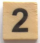 Houten Scrabble Cijfer 2