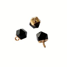 Onyx Edelsteen Bedel Facet Cube Goud