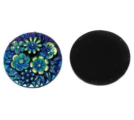 Resin cabochon 25mm rond met bloemen blauw/goud