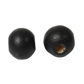 Houten ronde kraal Zwart 8mm (ca 40 stuks)