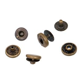 Leder drukknopen Brons 10mm dia (10 sets)