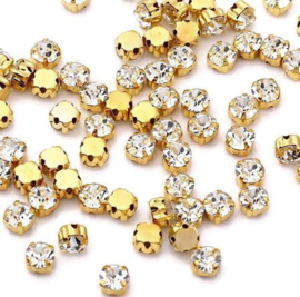 Mesh strass Crystal SS12 3mm Gold Plated (10st.)