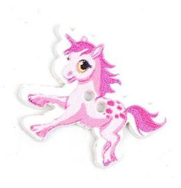 Knoop Hout Eenhoorn Pony Roze