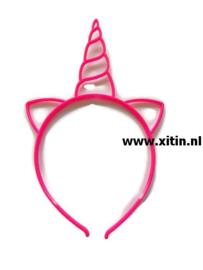 Haarbeugel Eenhoorn Neon Roze