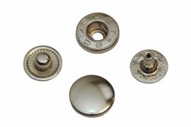 Leder drukknopen Nikkel kleur 12mm dia (10 sets)