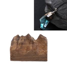 Sandalwood stukje hout met ruwe kant, bruin tbv Resin / Giet Hars