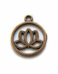 Bedel Lotusbloem in ring  Antiek Koperkleur