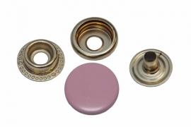 Leder drukknopen Licht Roze 15mm dia (10 sets)