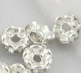 Rhinestone rondelle spacers Transparant 6mm (10 st.)