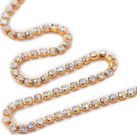 Cup chain / Mesh strass ketting gold tone  AB glans 2x2mm