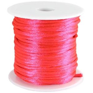 Voordeelverpakking rol van 10 meter Satijnkoord Neon Roze 2mm