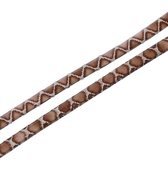 Imitatie Leer Koord Plat Bruin slangenhuid (20cm)