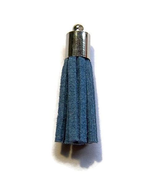 Kwastje Jeans Blauw (zilverkleur kapje)