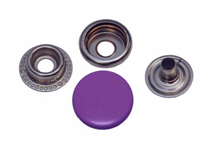 Leder drukknopen Paars 15mm dia (10 sets)