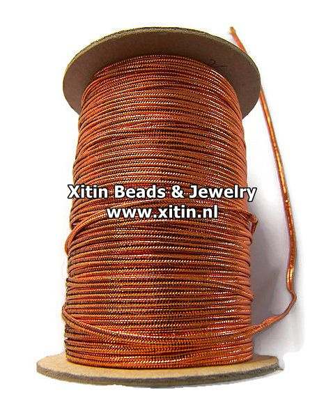 Soutache Koord Rayon Smooth Metallic Copper 2,3mm