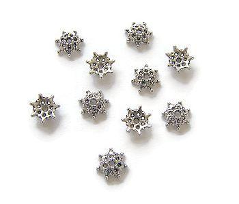 Kralenkapjes bolletjesbloem Antique Silver (10st.)