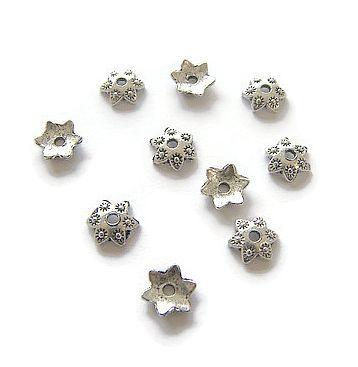 Kralenkapjes Star Flowers Antique Silver (10st.)