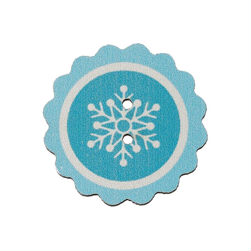 """VOORDEELVERPAKKING 50 stuks Knoop Hout Blauw met Sneeuwster """"Frozen"""""""