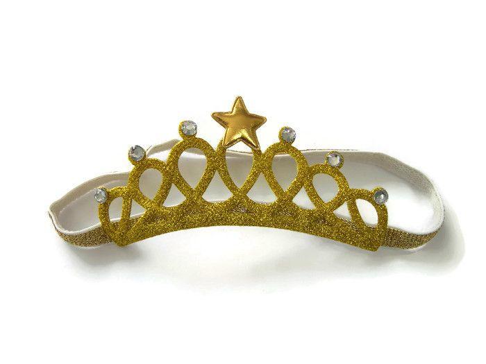 Haarband Kroontje Glitter Goud