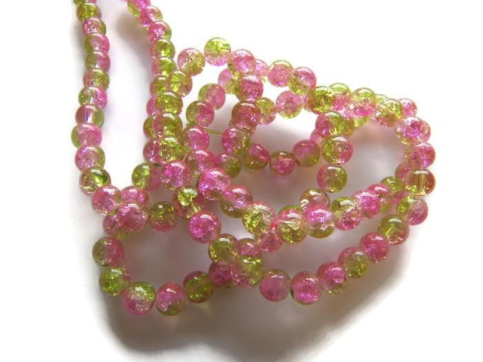 Crackle kraal licht groen / licht roze (PER STRENG)