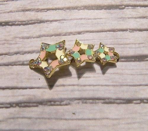 Connector 3 sterren Rhinestone Emaille