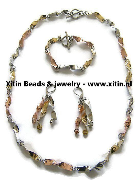 Tricolore Twisted Metal Jewelry Set,  Handmade