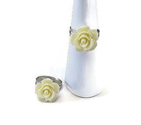 Ringetje met cremekleurig roosje