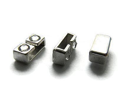 Schuif Kraal rechthoek met steentjes voor 10mm plat leer