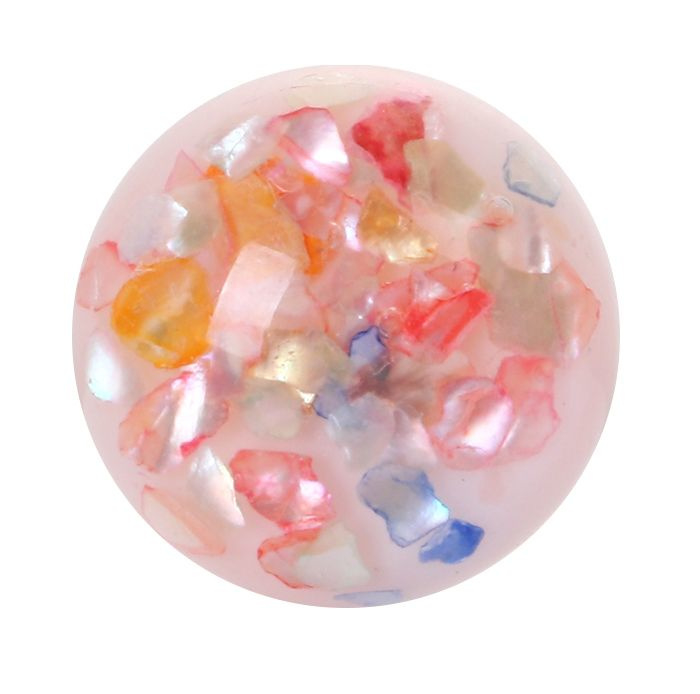 Resin Cabochon Rond, Multicolor Schelp Flakes 18mm