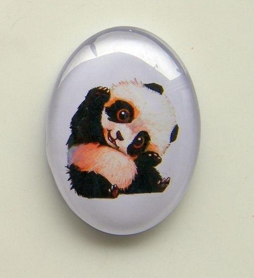 Glas cabochon ovaal Baby Panda