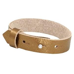 Cuoio Armband Leer 15mm Metallic Gold