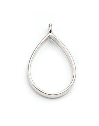 Resin Bezel Hanger Druppel Silver Tone
