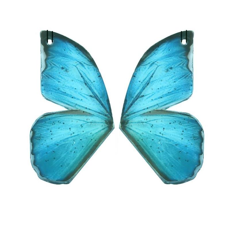 Resin Butterfly Wings Blauw (2st)