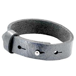 Cuoio Armband Leer 15mm Metallic Grey Silver