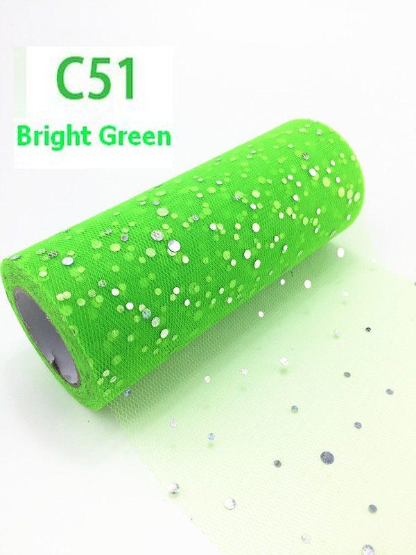 Tule GLITTER Bright Green 15cm breed  rol 22 meter C51