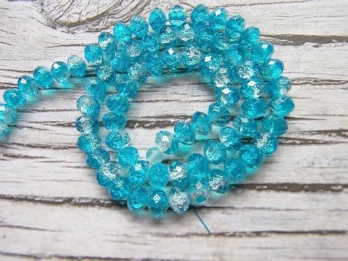 Crackle kraal facet rondel Aqua Blauw /transparant 8x6mm